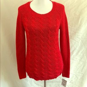 Liz Claiborne red cable knit sweater varies sizes